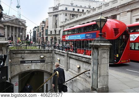 London, Uk - July 8, 2016: People Visit Bank Junction In London, Uk. London Is The Most Populous Cit