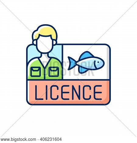 Fishing Licence Rgb Color Icon. Permission To Catch Fish. Ecological Legislation. Hobby And Leisure