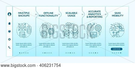 Software As Service Pros Onboarding Vector Template. Multiple Backups. Scalable Usage. Accurate Repo
