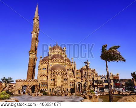 Sharm El Sheikh, Egypt - January 17, 2020: City Square In Sharm El Sheikh In Front Of The Al Sahaba