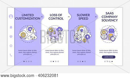 Software As Service Obstacles Onboarding Vector Template. Control Loss. Saas Company Solvency. Respo