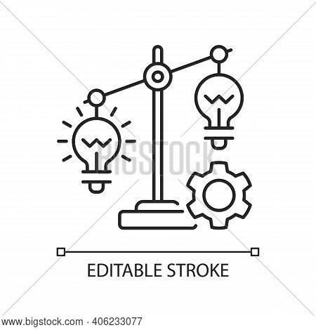 Idea Prioritization Linear Icon. Creative Thinking Idea. Choosing The Right Goals. Thin Line Customi