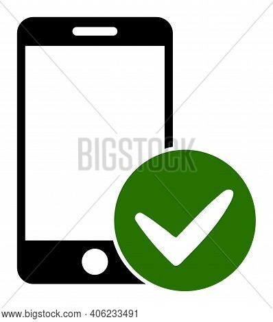Approved Smartphone Icon With Flat Style. Isolated Raster Approved Smartphone Icon Illustrations, Si