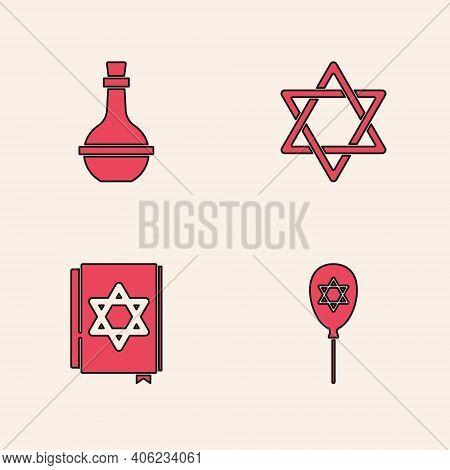 Set Balloon With Star Of David, Jewish Wine Bottle, Star David And Torah Book Icon. Vector