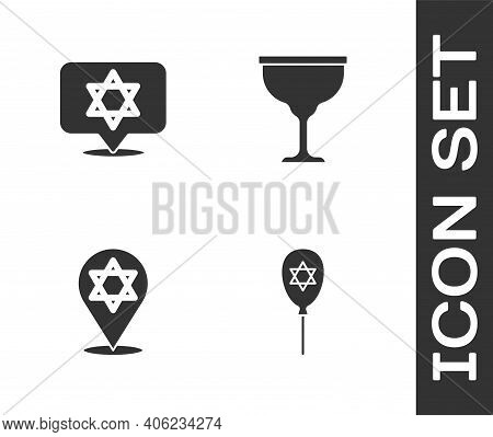 Set Balloon With Star Of David, Star David, And Jewish Goblet Icon. Vector