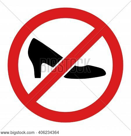 Forbidden Shoes Icon With Flat Style. Isolated Raster Forbidden Shoes Icon Illustrations, Simple Sty