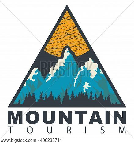 Triangular Travel Banner Or Pennant In Retro Style With Snow Covered Mountains, Sun, Fir Trees And T