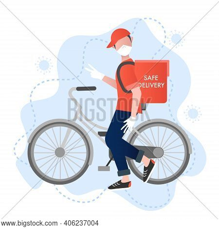Safe Delivery Vector Concept. Smiling Deliverman With A Bike Makes Safe And Virus Protected Deliver.