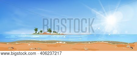 Panorama View Tropical Seascape Of Blue Ocean And Coconut Palm Tree On Island, ,panoramic Sea Beach
