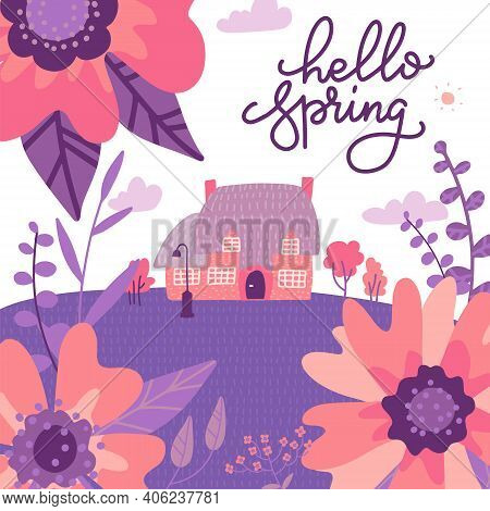 Victorian Old Country House Among Huge Flowers In Brignt Purple And Pink Colors. Flat Vector Illustr