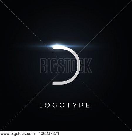Futurism Style Letter D. Minimalist Type For Modern Futuristic Logo, Elegant Cyber Tech Monogram, Di