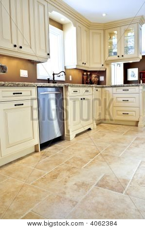 Tile Floor In Modern Kitchen