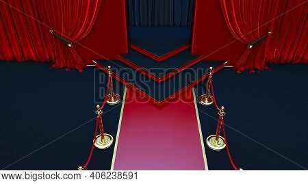 Realistic Red Carpet And Pedestal With Barriers Fences And Velvet Rope, Red Carpet Entrance With Bar