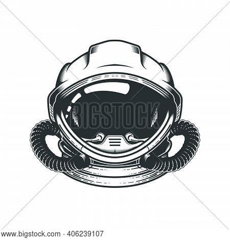 Astronaut In Space Helmet, Head Of Spaceman In Space Suit, Cosmonaut, Spaceship Pilot, Vector