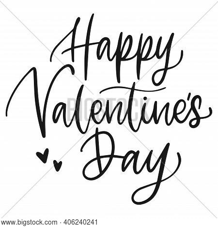 Happy Valentines Day. Handwriting Valentines Day Text. Isolared Heart Shape Greeting Card. Love Post