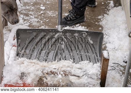 Snow Shovel Pushes The Snow And Ice From Your Path After A Snow Storm