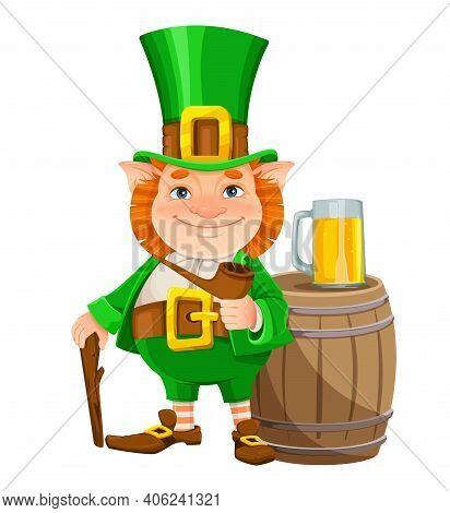 Stock Vector Leprechaun. Happy St Patrick's Day. Cheerful Leprechaun Cartoon Character With Smoking