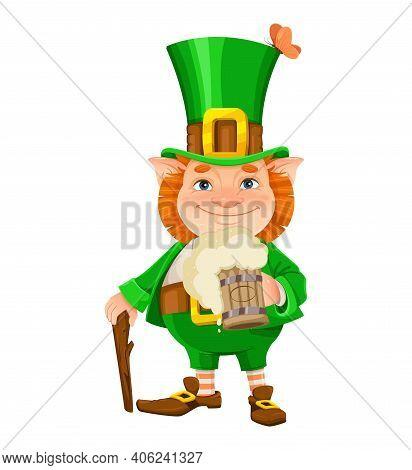 Stock Vector Leprechaun. Happy St Patrick's Day. Cheerful Leprechaun Cartoon Character With Beer And