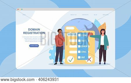 Male And Female Characters Are Registrating Domain. Friends Choose Domain Suitable For Their Website