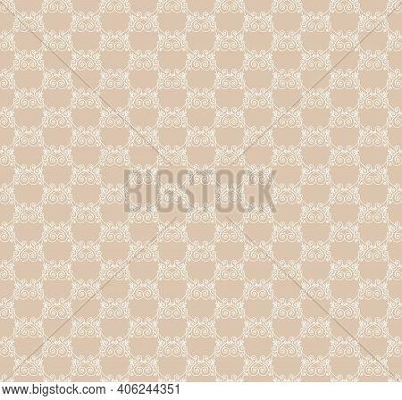 White Openwork Pattern On A Beige Background