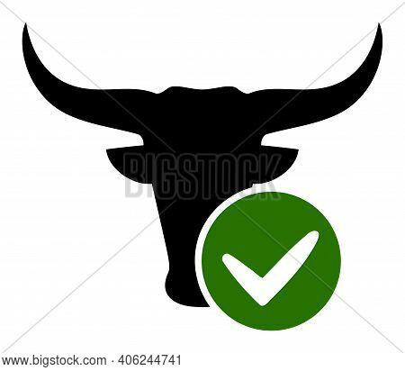 Approved Beef Icon With Flat Style. Isolated Vector Approved Beef Icon Image, Simple Style.