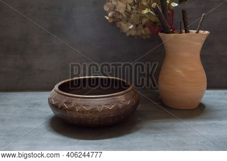 Hand-carved Carved Round Walnut Wood Plate. Handmade Walnut Round Wooden Tea Tray. Knife Carving Tex