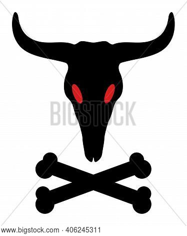 Dead Bull Bones Icon With Flat Style. Isolated Vector Dead Bull Bones Icon Illustrations, Simple Sty