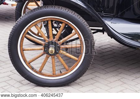 Black Vintage Rarity Car. Vintage Car Wheels - Classic Vehicle