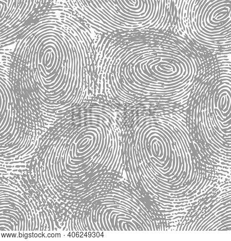 Seamless Grey Fingerprint Silhouettes Pattern Isolated On White Background