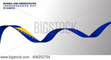 Flying Bosnia And Herzegovina Banner Design. Good Template For Bosnia And Herzegovina Independence D