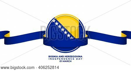 Bosnia And Herzegovina Emblem Flag With Banner Design. Good Template For Bosnia And Herzegovina Inde