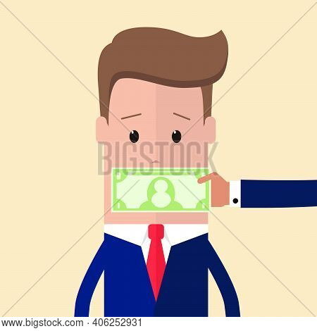 Hand With Cash Money Dollar Banknote Covering Politician Or Businessman Mouth Buying Silence Telling