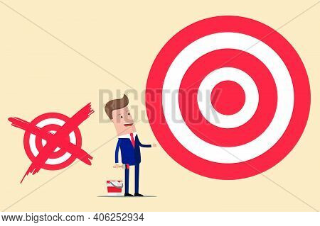 Businessman With Crossed Old Paint Help Small Goal And Drew A Large New Target. Vector Illustration