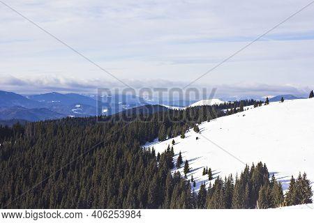 Winter Mountains, Carpathians, Ukraine. Ski Resort Bukovel