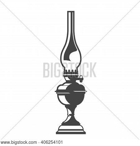 Vintage Metal Oil Lamp With Glass Bulb, Silhouette Of Home Kerosene Lantern, Vector
