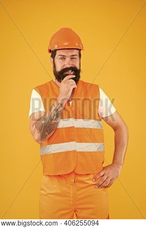 I Love Constructing. Construction Worker Yellow Background. Construction Engineer Or Builder In Work