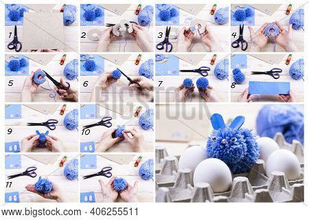 How To Make A Bunny From Pom-poms For Easter Decor. Children's Art Project. Diy Concept. Hands Make