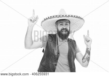 Man Bearded Cheerful Guy Wear Sombrero Mexican Hat. Mexican Party Concept. Celebrate Traditional Mex