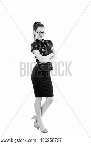 Being A Teacher. School Teacher Keeping Arms Crossed. Confident Teacher Wearing Glasses In Formal St