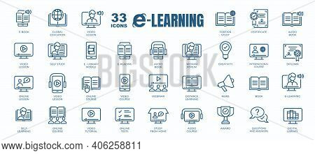 Simple Set Of E- Learning, Online Course And Education Related Vector Line Icons. Contains Thin Icon
