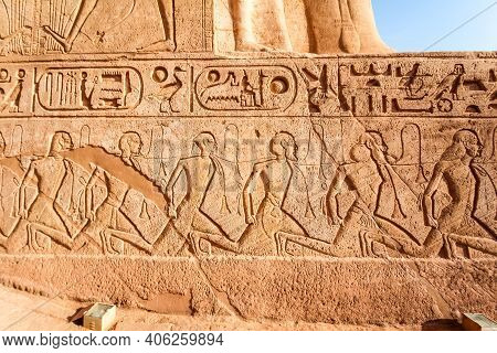 Egyptian Relief Of Defeated And Enslaved Enemies At Abu Simbel Temple