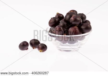 Glass Bowl With Amazon Acai Fruit (euterpe Oleracea)