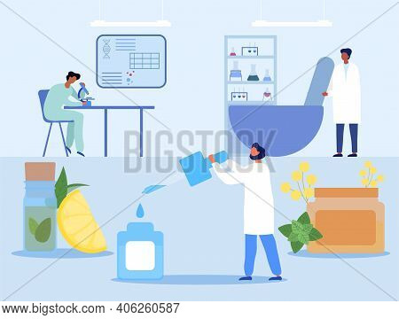 Male Characters Are Preparing Natural Remedies Step-by-step. Male Researchers And Scientists Working
