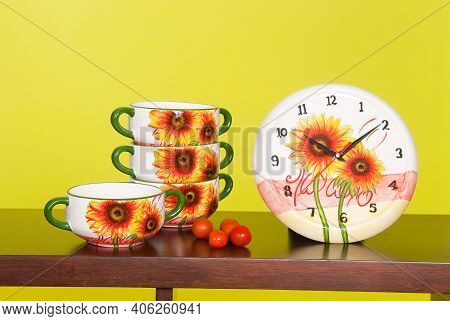 Cookware; Set Of Ceramic Utensils To Serve Soup, And Decorative Wall Clock.