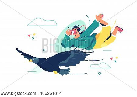 Male Photographer In Sky Vector Illustration. Professional Photographer Take Picture Of Rare Bird Fl