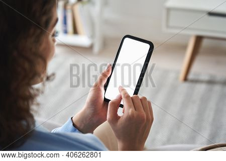 Young Woman Or Teen Girl Hands Holding Cell Phone Touching Finger Mockup White Blank Display, Empty