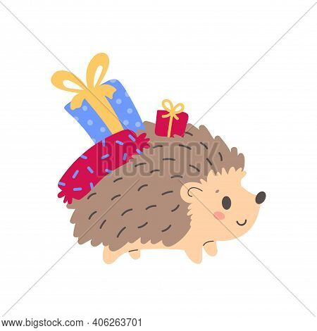 Cute Hedgehog Holding Wrapped Gift Boxes. Design For T Shirt Print, Greeting Card, Poster. Hand Draw