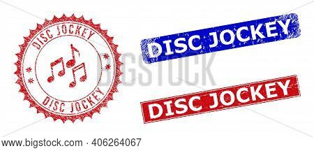 Rectangle And Round Disc Jockey Watermarks With Icon Inside. Blue And Red Textured Seal Stamps With
