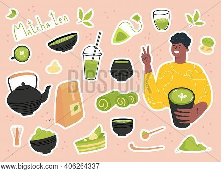 Green Matcha Tea Serve And Drink By A Young Man. Set Of Matcha Healthy Drink Stickers. Various Tea P