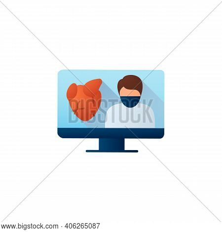 Online Cardiology Flat Icon. Telehealth Medical Care. Virtual Cardiologist Consultation. Telemedicin